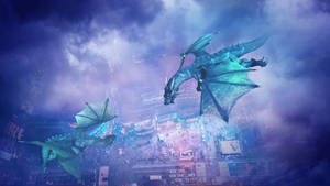 Dragons above the city