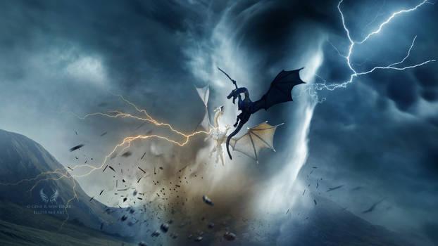 Dragons battle by Ellysiumn