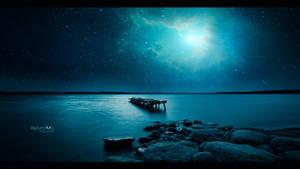 Lonely pier under the nebula