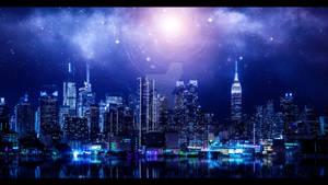 Light city on seashore