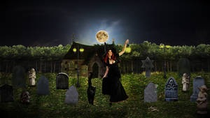 Witch in the cemetery by suedseeengel