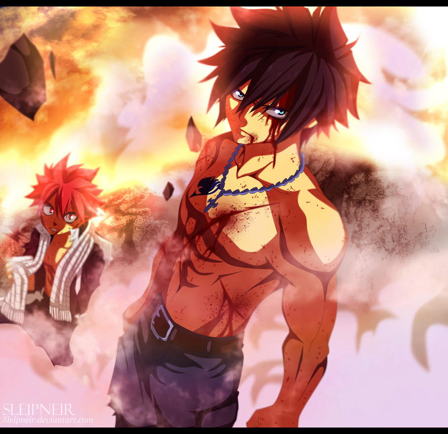 gray and natsu fairy tail 407 re color by sleipneir on