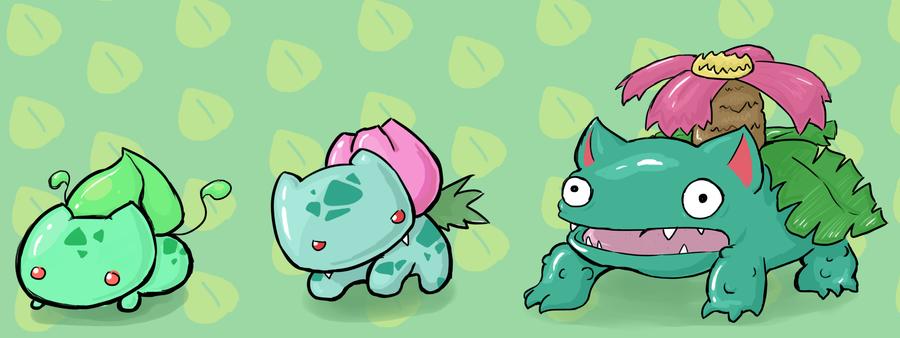 Bulbasaur, Ivysaur, and Venusaur by LizardBat