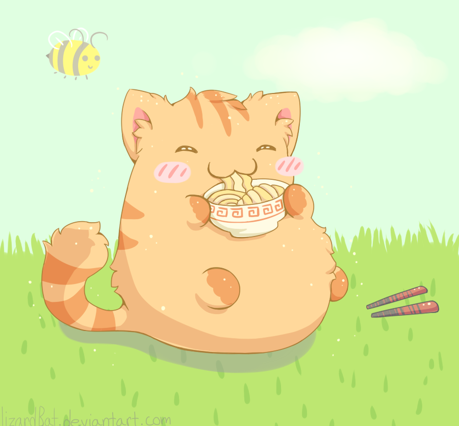Ramen Cat by LizardBat