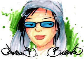 self portrait in a hat by Bleu-Flamme