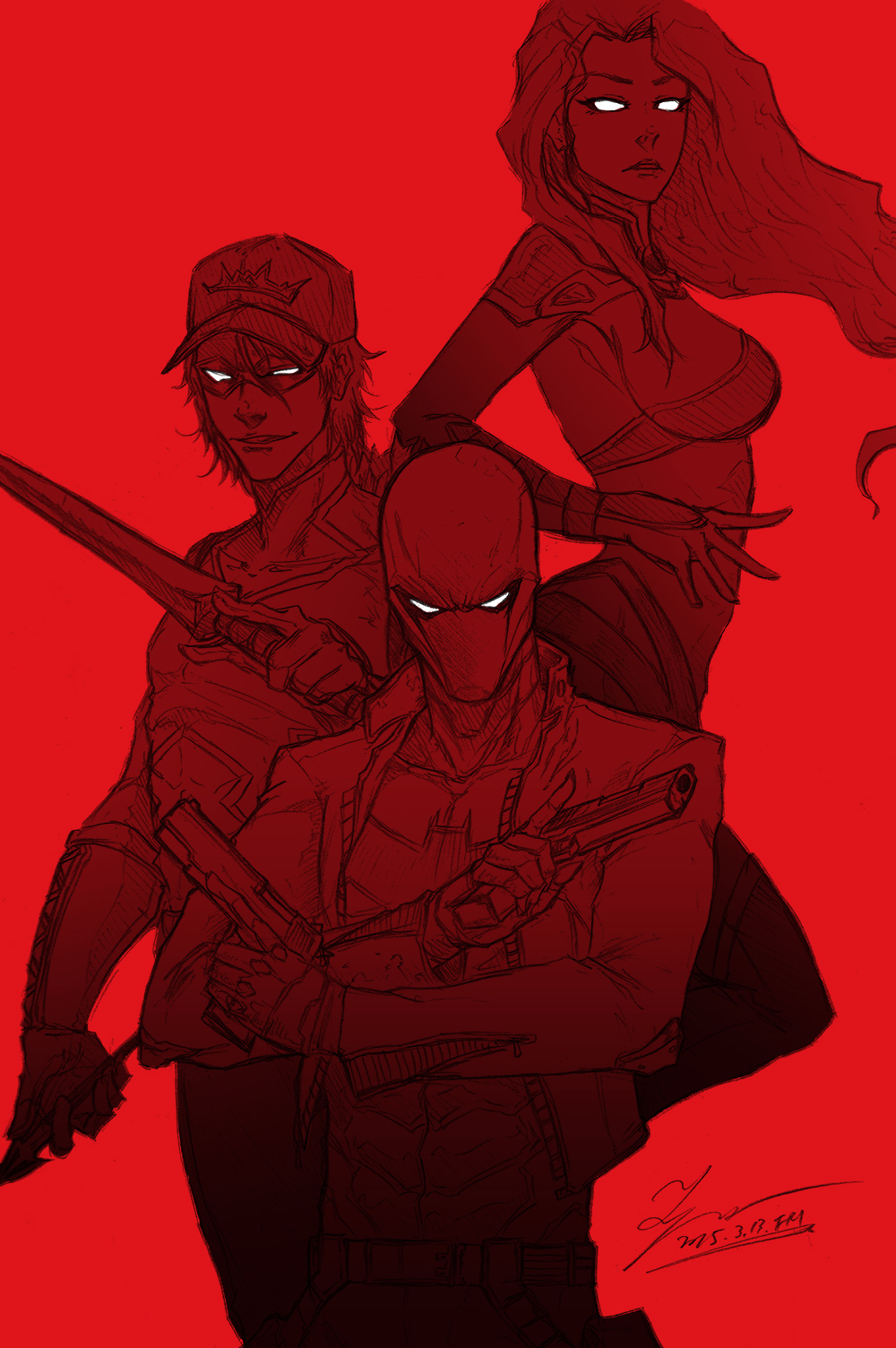 Sketch Red Hood And The Outlaws By Tryvor On Deviantart
