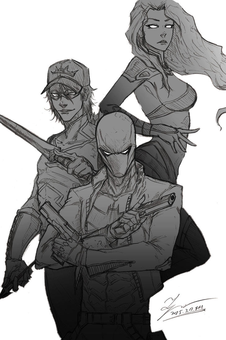 Sketch - Red hood and the OUTLAWS (Gray) by tryvor