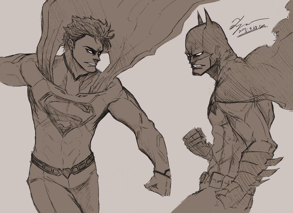 Sketch - Superman vs Batman by tryvor