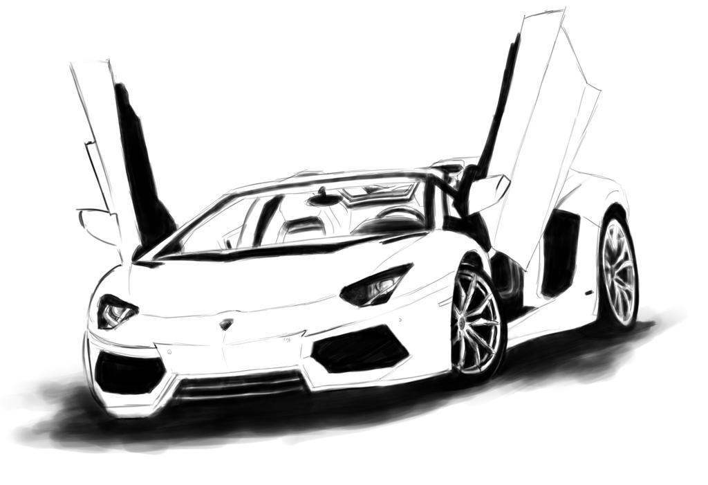 2013 lamborghini aventador roadster by penclguy - Lamborghini Black And White Drawing