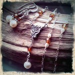 Steampunk Czech Glass and Pearl Set