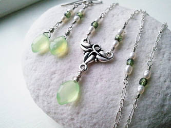 Elven Ivy -Chalcedony, Pearl- Set by QuintessentialArts