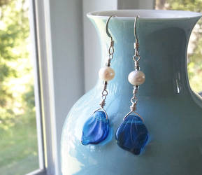 Blue Leaf White Pearl Earrings by QuintessentialArts