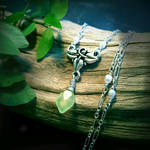 Elven Ivy - Green Leaf Chalcedony, Tiny Pearls~