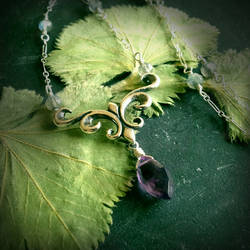 Fleur De Lis Amethyst and Labradorite Necklace~ by QuintessentialArts