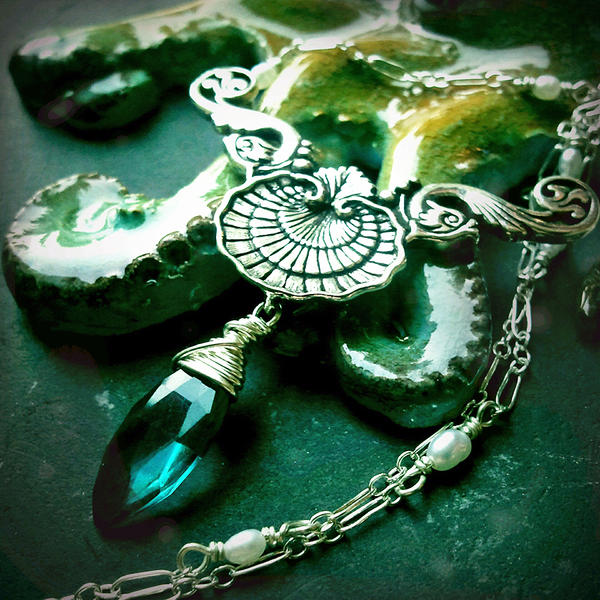 Teal Quartz Shell and Fish Mermaid Necklace~ by QuintessentialArts