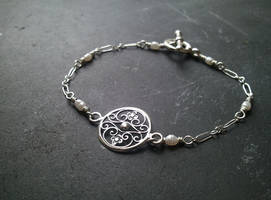 In the Garden -Silver and Pearl Bracelet by QuintessentialArts