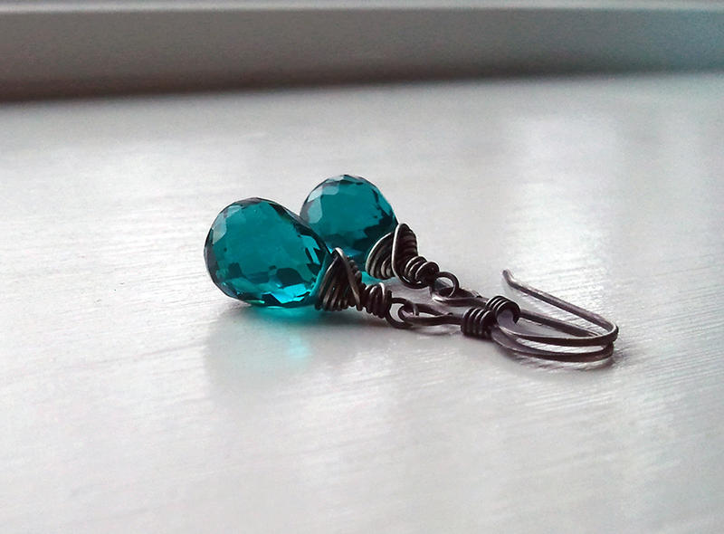 Oxidized Teal Quartz Teardrop Earrings by QuintessentialArts
