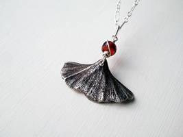 Silver Clay Ginkgo Leaf with Garnet