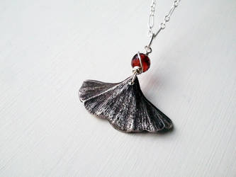 Silver Clay Ginkgo Leaf with Garnet by QuintessentialArts