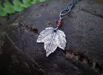 Maple -Baby Leaf- Garnet - Pendant
