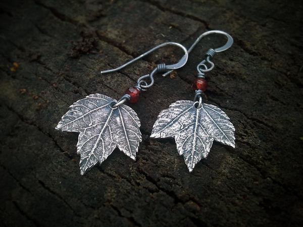 Maple -Baby Leaf- Garnet - Silver Leaf Earrings by QuintessentialArts
