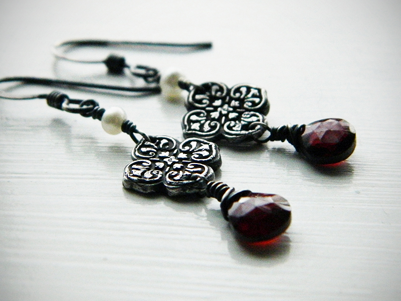 Sanguine Garnet, Silver, and Pearl Earrings by QuintessentialArts