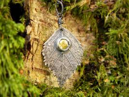 Betula, Birch- Fine Silver Leaf Pendant,Peridot CZ by QuintessentialArts