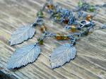 Custom Hazelnut Leaf and Tourmaline Necklace