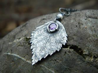 Betula, Birch- Fine Silver Pendant, Amethyst CZ by QuintessentialArts