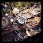 Fine Silver Victorian Citrine and Pearl Necklace~