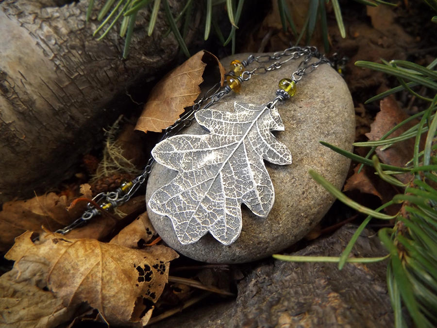 Summer to Autumn - Quercus - Oak Leaf Necklace by QuintessentialArts