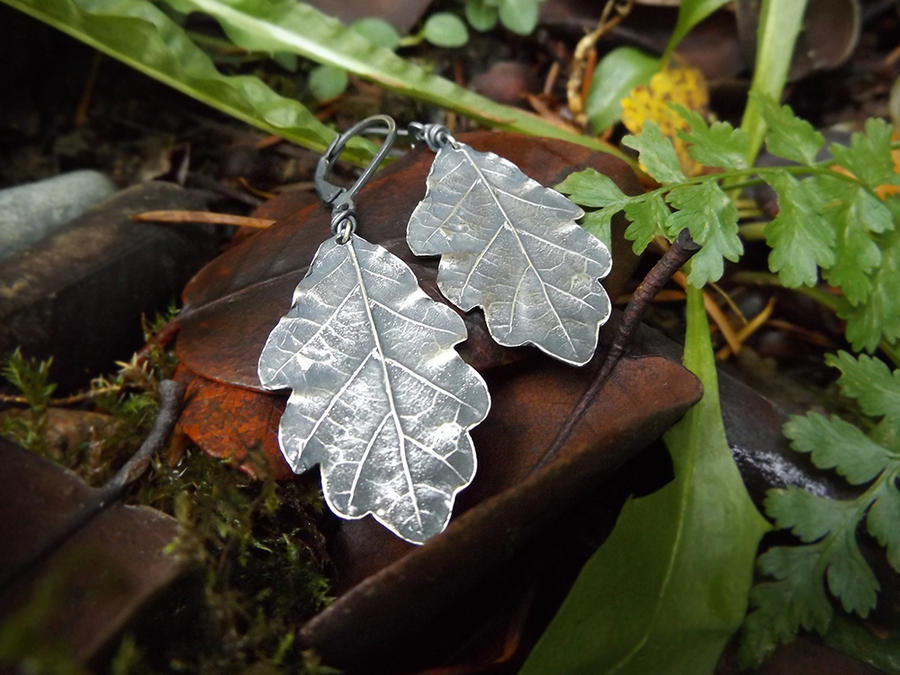 Quercus - Oak Leaf -Fine Silver Leaf Earrings by QuintessentialArts