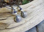 Tiny Clam Shell, Sapphire and Pearl Earrings