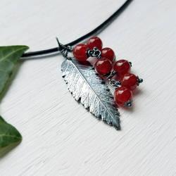 Rowan Fine Silver Leaf and Carnelian Berries by QuintessentialArts