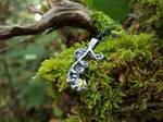 Fiddlehead Fern - Fine Silver Pendant, Lemon CZ