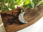 Lady Fern Moon - Fine Silver Pendant with BC Jade by QuintessentialArts