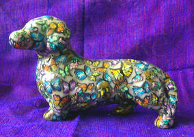Wiener dog poly clay butterfly