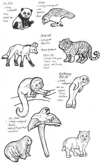 Line Drawings Of Endangered Animals : Endangered animals pr by lemurkat on deviantart