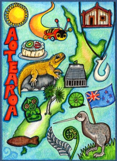Aotearoa Map Card by lemurkat