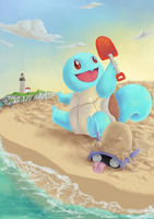 Squirtle in a beach by URyousuke