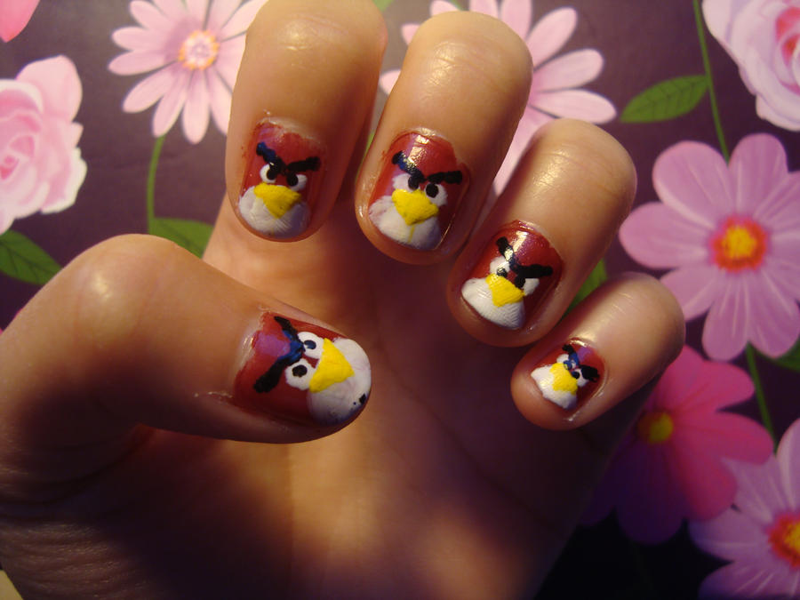 red angry bird nails by luminousleopard