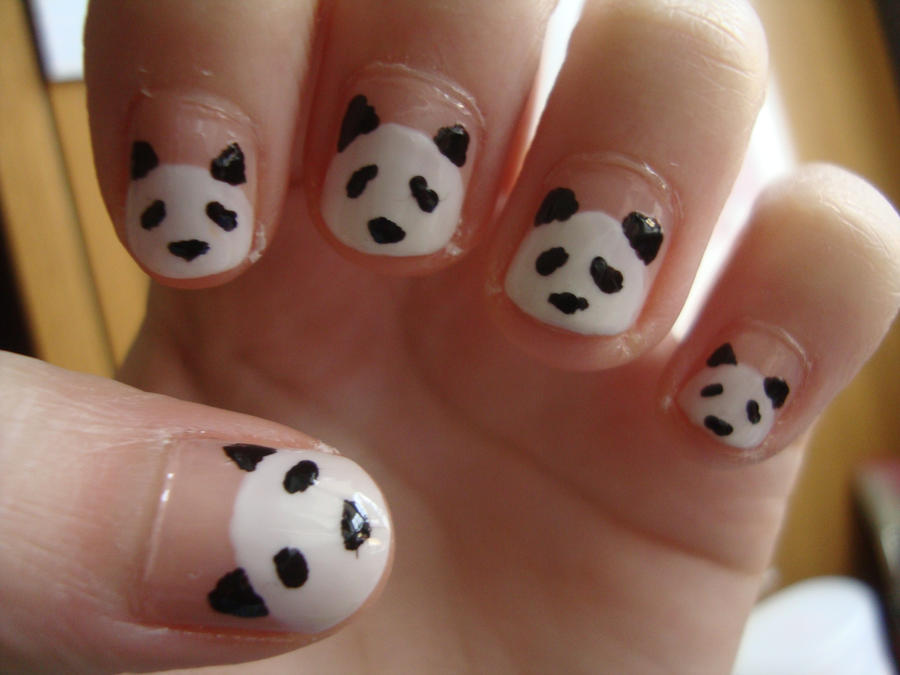 Panda Nails by luminousleopard