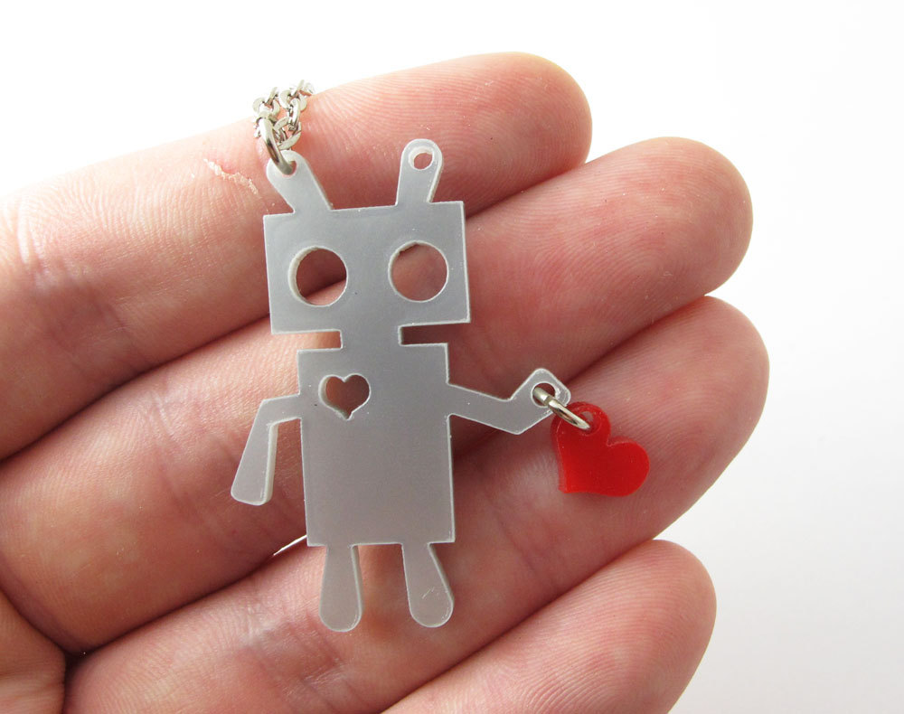 Robot holding a heart necklace by milkool