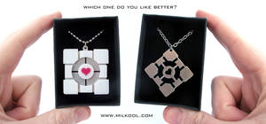Portal companion cube necklace giveaway