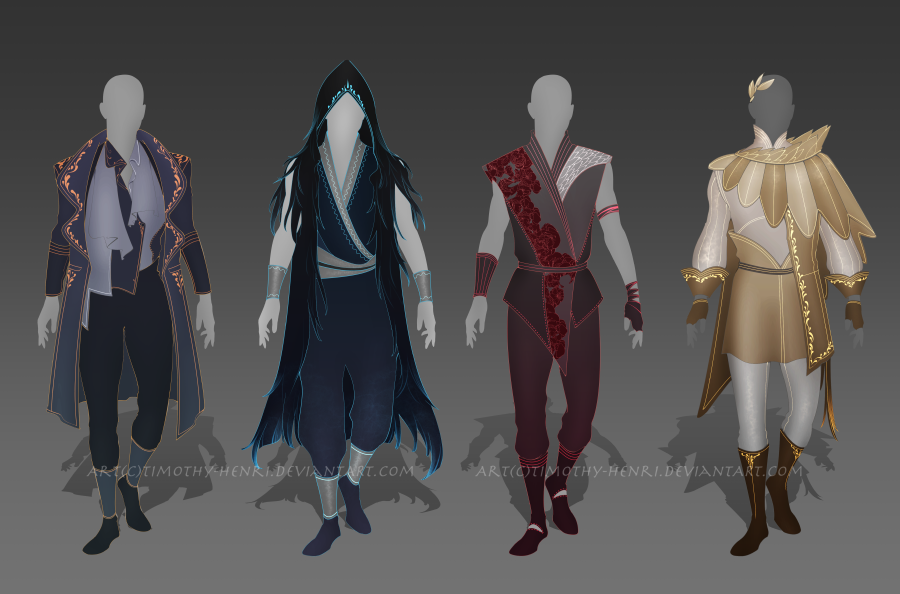 (CLOSED) - Male Outfit Adoptable Set #004 by Timothy-Henri on DeviantArt