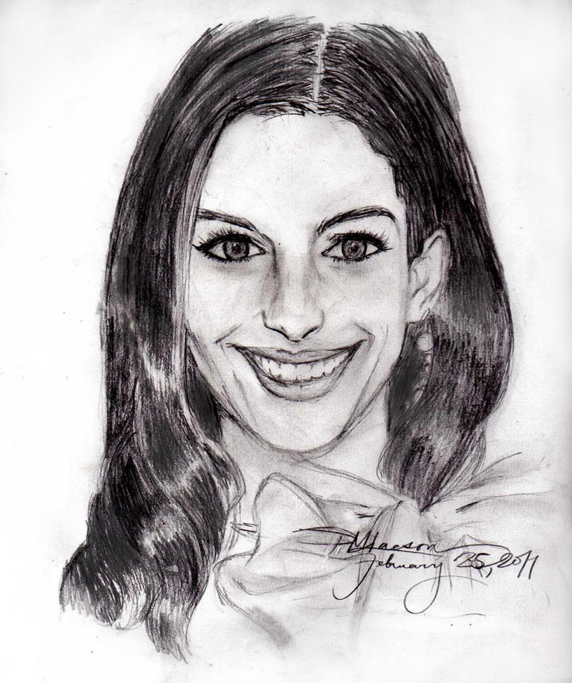 Anne Hathaway Drawing: Sketch:Anne Hathaway By Ravenchelsea On DeviantArt