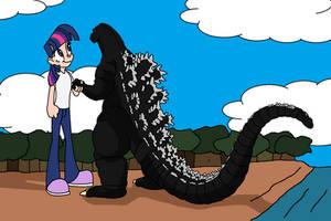 Godzilla Twilight handshake by dominator2001