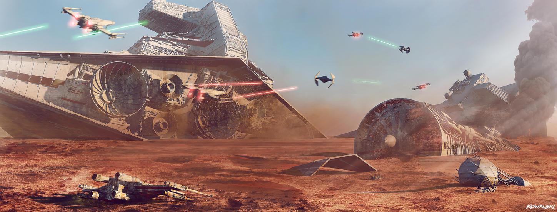 Star Wars Battle of Jakku Concept Art by Dylan-Kowalski