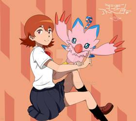 tri: Sora and Piyomon