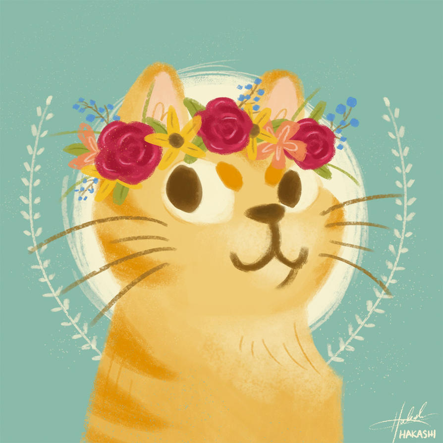 Flower Crown Cat By Hakashi Arakawa On Deviantart